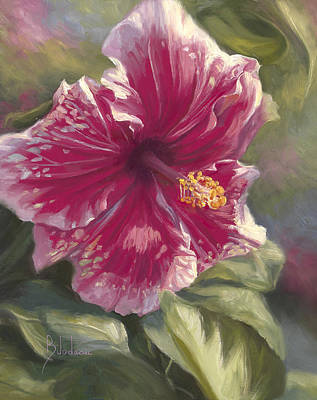 Hibiscus In Bloom Art Print by Lucie Bilodeau