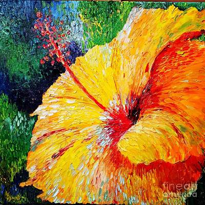 Painting - Hibiscus  by Irene Pomirchy