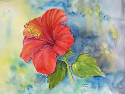 Art Print featuring the painting Hibiscus  by Janina  Suuronen
