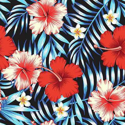 Digital Art - Hibiscus Red And Palm Leaves Blue by Berry2046