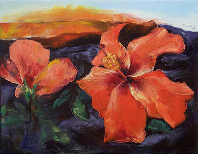 Vulcan Painting - Hibiscus Volcano by Michael Creese