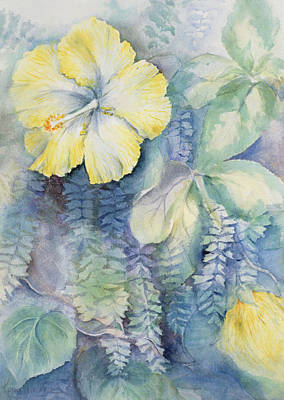 Still Life Drawing - Hibiscus, Yellow by Karen Armitage