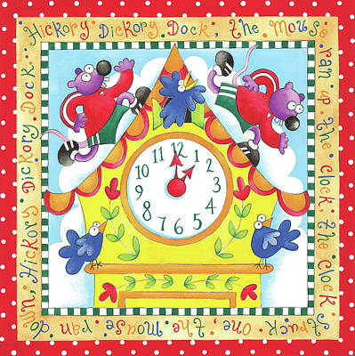 Nursery Rhyme Painting - Hickory Dickory Dock by P.s. Art Studios