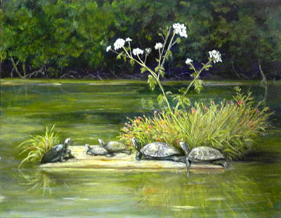 Print featuring the painting Hicks' Turtles by Sandra Nardone