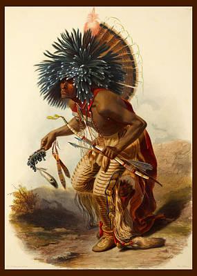 Brave Digital Art - Hidatsa Warrior by Karl Bodmer