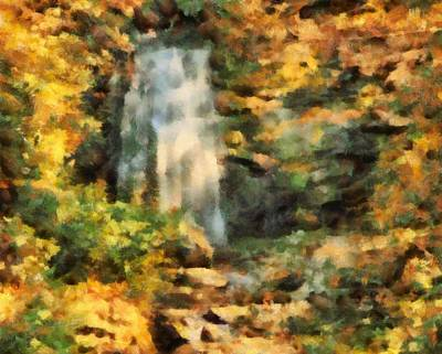 Autumn Foliage Mixed Media - Hidden Autumn Waterfall by Dan Sproul