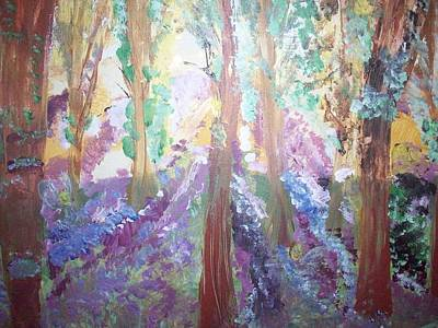 Art Print featuring the painting Hidden Forest Fairies by Judith Desrosiers
