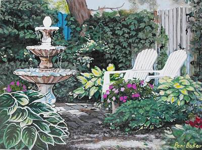 Impatients Painting - Hidden Garden Cottages by Peni Baker