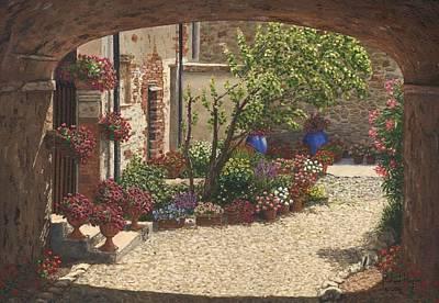 Villa Painting - Hidden Garden Villa Di Camigliano Tuscany by Richard Harpum