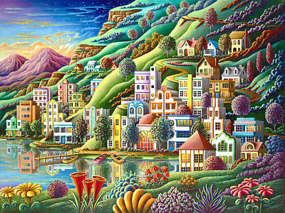 Port Town Painting - Hidden Harbor by Andy Russell