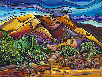Painting - Hidden In The Hills-degrazia Mission In The Sun by Alexandria Winslow