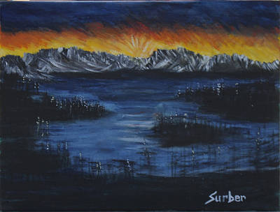 Sun Rays Painting - Hidden Lake by Suzanne Surber