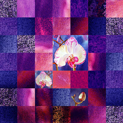 Abstract Pattern Painting - Hidden Orchids Squared Abstract Design by Irina Sztukowski
