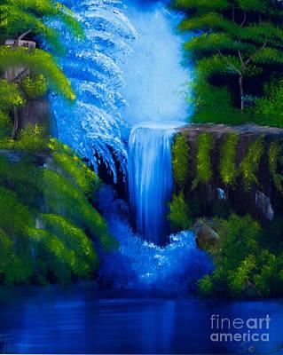 Outdoor Still Life Painting - Hidden Pond Blue by Sally Davis