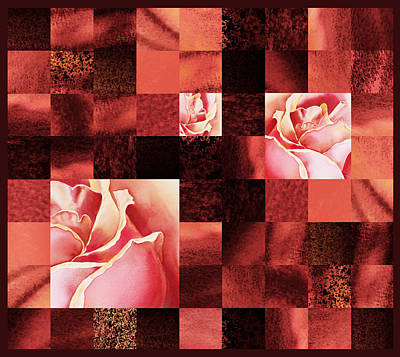 Abstract Pattern Painting - Hidden Roses Squared  by Irina Sztukowski