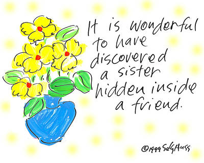 Vase Of Flowers Drawing - Hidden Sister by Sally Huss