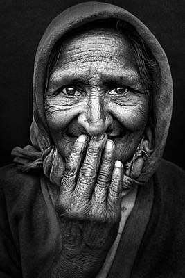 Lady Wall Art - Photograph - Hidden Smile by Nidhal Alsalmi