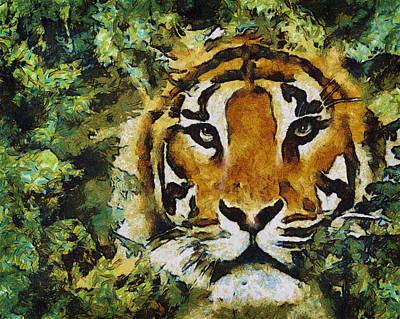 Digital Art - Hidden Tiger by Mary Almond
