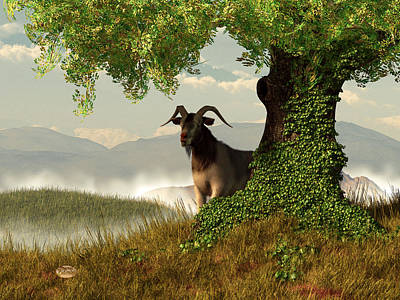 Farm Scene Digital Art - Hide And Goat Seek by Daniel Eskridge