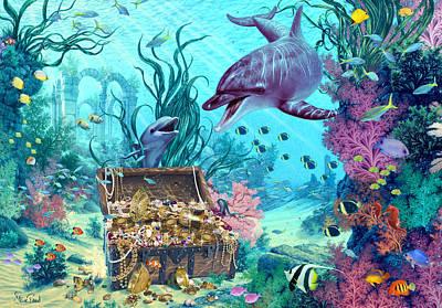 Hide And Seek Dolphins Art Print by Steve Read
