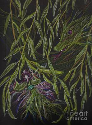 Weeping Drawing - Hide And Willow Seeking by Dawn Fairies