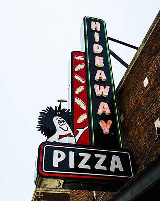 Hideaway Pizza Neon Sign Print by David Waldo