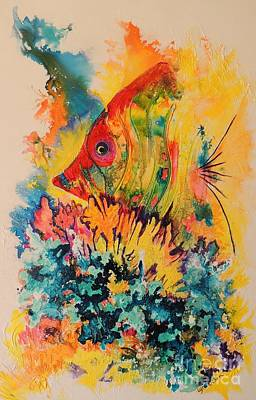 Art Print featuring the painting Hiding Amongst The Coral by Lyn Olsen