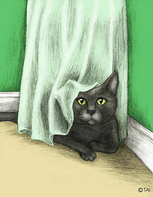 Table Cloth Drawing - Hiding Cat by Tricia Shanabruch