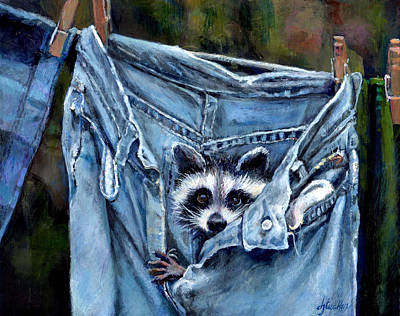 Clothed Painting - Hiding In My Jeans by Donna Tucker