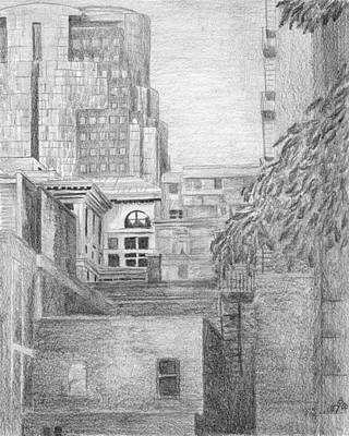 Montreal Buildings Drawing - Hiding Places by Duane Gordon