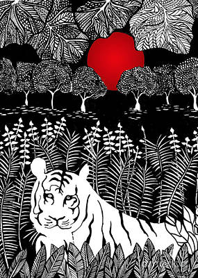Drawing - Hiding Tiger by Lee Owenby