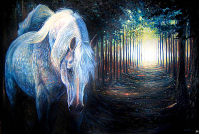Hiding Unicorn Print by Gill Bustamante