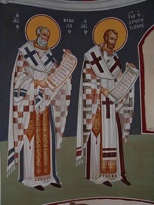 Byzantin Painting - Hierarches  by Charalampos Gkolfinopulos