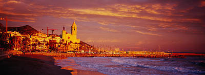 Panorama Beach Photograph - High Angle View Of A Beach, Sitges by Panoramic Images