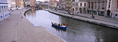 Belgium Photograph - High Angle View Of A Boat In A River by Panoramic Images