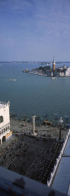 Doges Palace Photograph - High Angle View Of A Church And A Bell by Panoramic Images