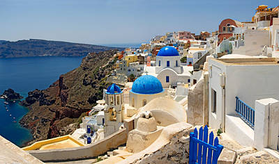 Urban Scenes Photograph - High Angle View Of A Church, Oia by Panoramic Images