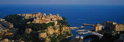 Monaco Photograph - High Angle View Of A City At The by Panoramic Images