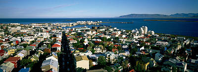 High Angle View Of A City, Reykjavik Art Print