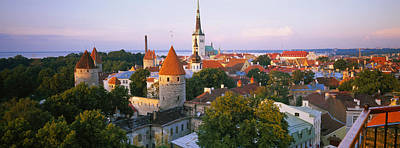 Eastern Europe Photograph - High Angle View Of A City, Tallinn by Panoramic Images