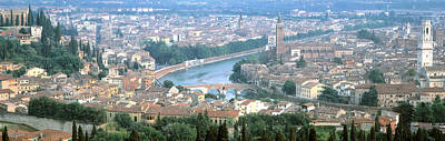 Rooftop Photograph - High Angle View Of A City, Verona by Panoramic Images