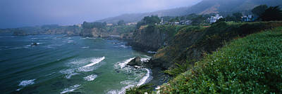 Mendocino California Coast Photograph - High Angle View Of A Coastline, Elk by Panoramic Images