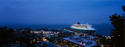 Queen Mary Photograph - High Angle View Of A Cruise Ship by Panoramic Images