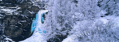 Cold Temperature Photograph - High Angle View Of A Frozen Waterfall by Panoramic Images