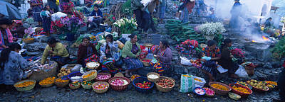 Vegetable Stand Photograph - High Angle View Of A Group Of People In by Panoramic Images