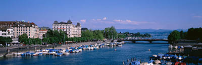 Limmat Photograph - High Angle View Of A Harbor, Zurich by Panoramic Images