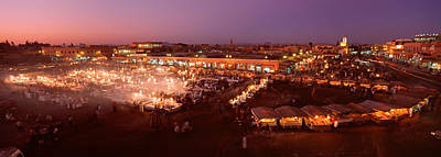 Moroccan Photograph - High Angle View Of A Market Lit by Panoramic Images