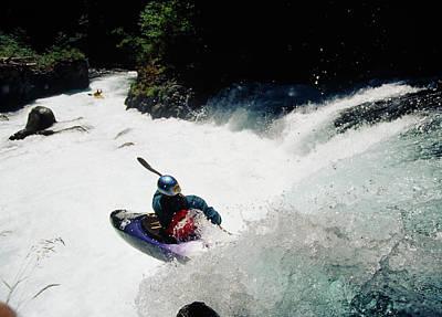 High Angle View Of A Person Kayaking Art Print