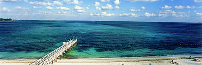 Bahamas Pier Photograph - High Angle View Of A Pier On The Beach by Panoramic Images