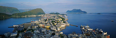 Rooftop Photograph - High Angle View Of A Town, Alesund by Panoramic Images